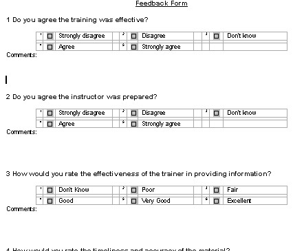 Feedback Form Template For Training Sessions Image Gallery  Hcpr